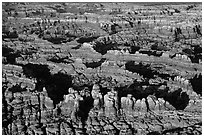 Aerial view of pinnacles, Needles District. Canyonlands National Park, Utah, USA. (black and white)