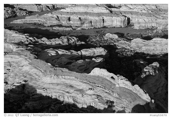 Aerial view of Castle Arch. Canyonlands National Park (black and white)