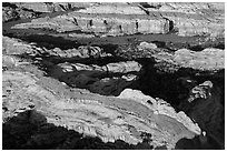 Aerial view of Castle Arch. Canyonlands National Park ( black and white)
