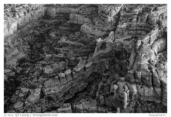 Aerial view of Angel Arch. Canyonlands National Park (black and white)