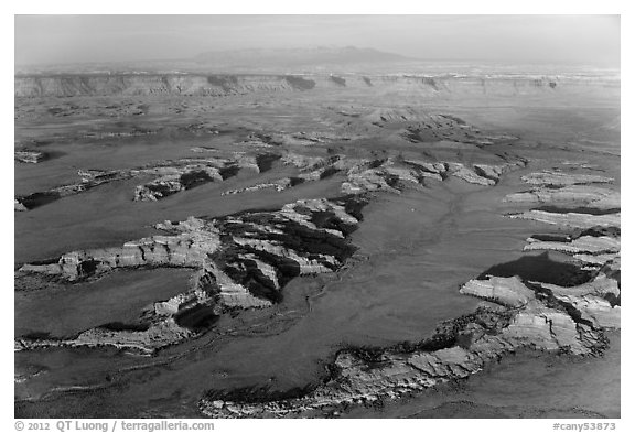 Aerial view of Squaw Flats, Needles. Canyonlands National Park (black and white)