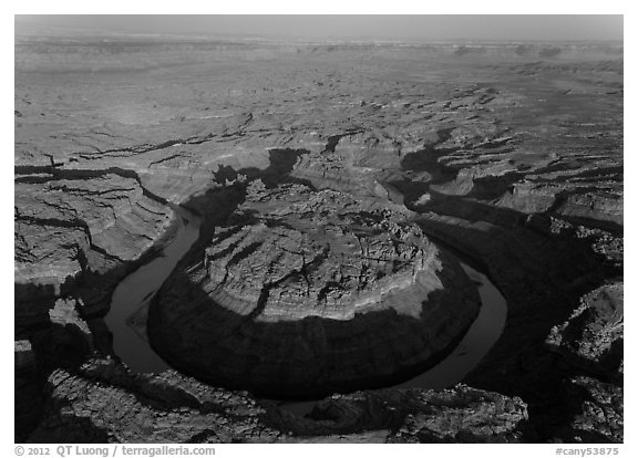 Aerial view of the Loop goosenecks. Canyonlands National Park (black and white)