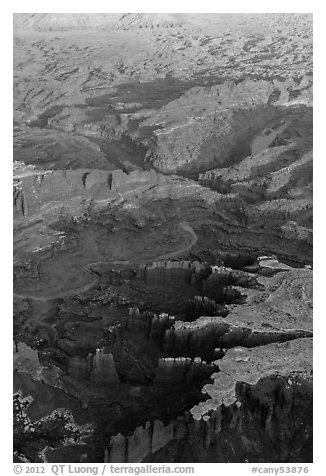 Aerial view of Monument Basin. Canyonlands National Park (black and white)
