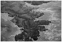 Aerial view of White Rim. Canyonlands National Park ( black and white)