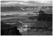 View over White Rim from High Spur. Canyonlands National Park ( black and white)