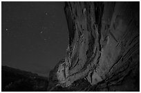 Great Gallery at night. Canyonlands National Park, Utah, USA. (black and white)