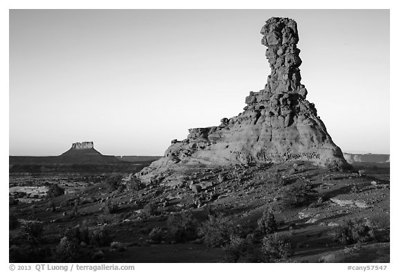 Chimney Rock at sunset. Canyonlands National Park (black and white)