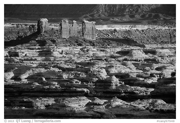 Chocolate drops and Maze canyons, early morning. Canyonlands National Park (black and white)