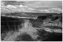 Mesas and canyons from High Spur, Orange Cliffs Unit, Glen Canyon National Recreation Area, Utah. USA (black and white)