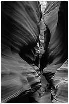Narrows, High Spur slot canyon, Orange Cliffs Unit, Glen Canyon National Recreation Area, Utah. USA ( black and white)