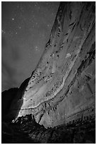 Illuminated canyon wall with rock art under starry sky, Horseshoe Canyon. Canyonlands National Park, Utah, USA. (black and white)