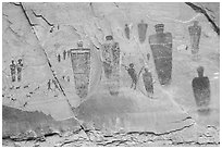 Life-sized anthropomorphic images, the Great Gallery, Horseshoe Canyon. Canyonlands National Park, Utah, USA. (black and white)
