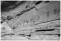 Oblique view of entire Great Gallery panel, Horseshoe Canyon. Canyonlands National Park, Utah, USA. (black and white)