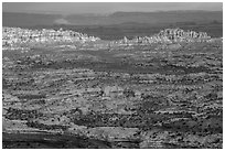 Maze District seen from Orange Cliffs. Canyonlands National Park ( black and white)