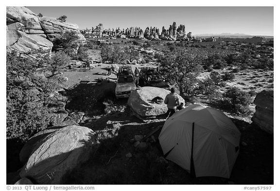 Jeep camp at the Dollhouse. Canyonlands National Park (black and white)