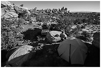 Jeep camp at the Dollhouse. Canyonlands National Park, Utah, USA. (black and white)
