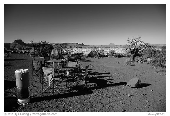 Backcountry camp chairs and tables, Standing Rocks campground. Canyonlands National Park (black and white)