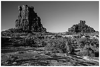The Eternal Flame, late afternoon, land of Standing rocks. Canyonlands National Park ( black and white)