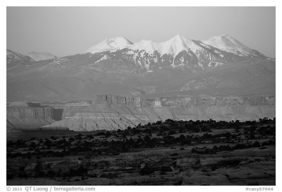 Distant Island in the Sky cliffs and La Sal mountains. Canyonlands National Park (black and white)