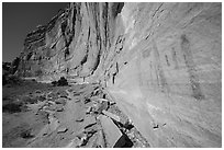 Rock art and cliff in Pictograph Fork. Canyonlands National Park, Utah, USA. (black and white)