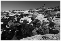 Chimney rock above Maze canyons. Canyonlands National Park ( black and white)