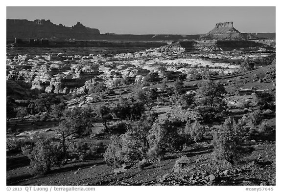 Maze seen from Chimney Rock, late afternoon. Canyonlands National Park (black and white)