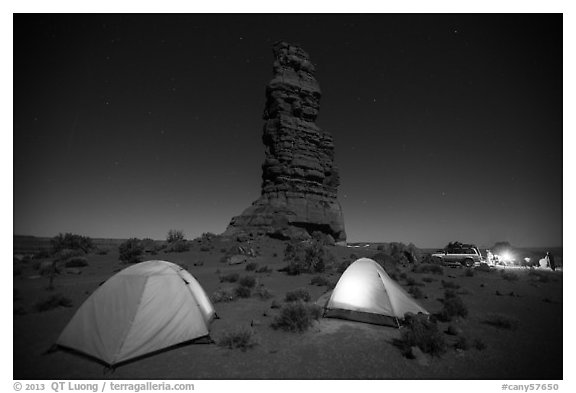Camp at the base of Standing Rock at night. Canyonlands National Park (black and white)