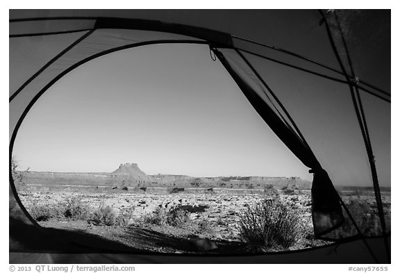View from inside tent at Standing Rock camp. Canyonlands National Park (black and white)
