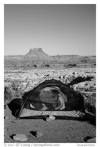 Camp overlooking the Maze. Canyonlands National Park (black and white)