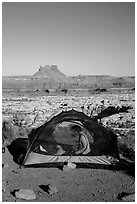 Camp overlooking the Maze. Canyonlands National Park ( black and white)
