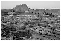 Chocolate drops, Maze canyons, and Elaterite Butte at sunrise. Canyonlands National Park, Utah, USA. (black and white)