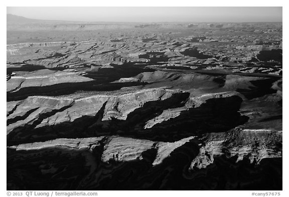 Aerial View of Maze District, Island in the sky in background. Canyonlands National Park (black and white)