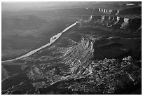 Aerial View of Cliffs and Green River. Canyonlands National Park ( black and white)