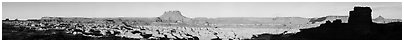Maze canyons and Chocolate Drops from Petes Mesa, early morning. Canyonlands National Park (Panoramic black and white)