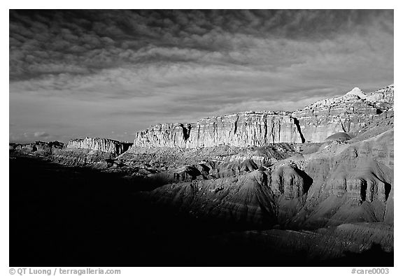 Layers of rock on  West face of Waterpocket Fold at sunset. Capitol Reef National Park (black and white)