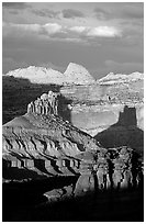 Cliffs and domes in the Waterpocket Fold, clearing storm, sunset. Capitol Reef National Park, Utah, USA. (black and white)