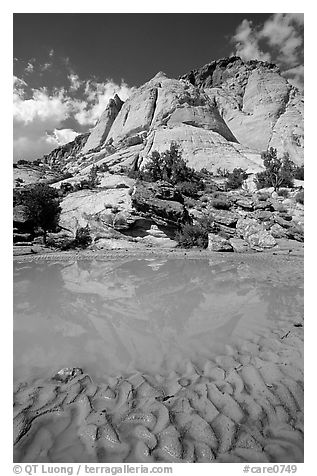 Pockets of water in Waterpocket Fold near Capitol Gorge. Capitol Reef National Park (black and white)
