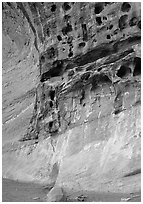 Holes in rock, Capitol Gorge. Capitol Reef National Park, Utah, USA. (black and white)