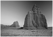 Temples of the Sun and Moon, dawn. Capitol Reef National Park ( black and white)