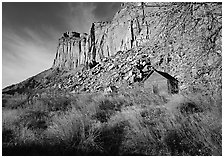 Historic Fuita school house and cliffs. Capitol Reef National Park, Utah, USA. (black and white)
