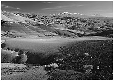 Bentonite hills and Henry Mountains. Capitol Reef National Park, Utah, USA. (black and white)