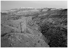 Capitol Reef section of the Waterpocket fold from Sunset Point, dusk. Capitol Reef National Park ( black and white)