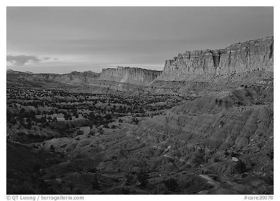 Waterpocket fold cliffs at dusk. Capitol Reef National Park (black and white)