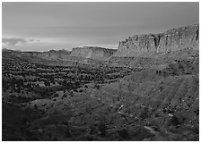 Waterpocket fold cliffs at dusk. Capitol Reef National Park ( black and white)