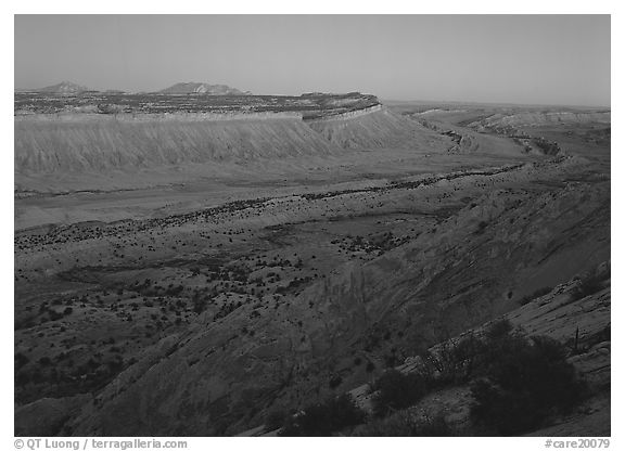 Blue light on Waterpocket Fold cliffs at dusk from Strike Valley Overlook. Capitol Reef National Park (black and white)