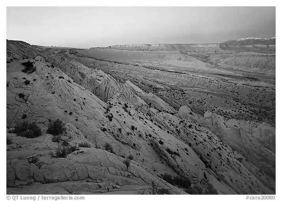 Strike Valley and Waterpocket Fold at dusk. Capitol Reef National Park (black and white)