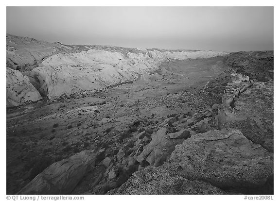 Waterpocket fold from Halls Creek overlook, dawn. Capitol Reef National Park (black and white)