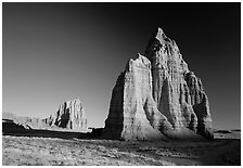 Temple of the Moon in the foreground and temple of the Sun, sunrise, Cathedral Valley. Capitol Reef National Park ( black and white)