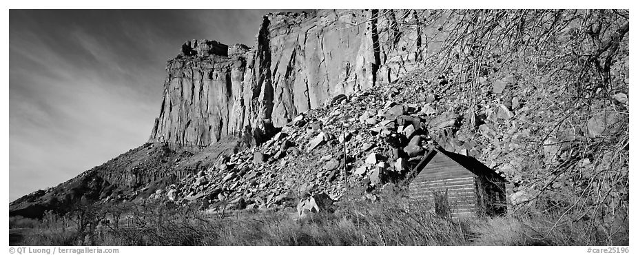 Fruita pioneer school house at the base of sandstone cliffs. Capitol Reef National Park (black and white)