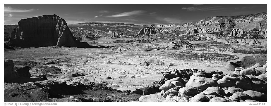Vast desert landscape, Cathedral Valley. Capitol Reef National Park (black and white)